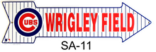 CHICAGO CUBS BASEBALL WRIGLEY FIELD ARROW SIGN FUN SIGN GREAT COLORS AND CONTRAST, POINT IT TOWARDS WRIGLEY FIELD!