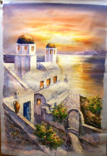 Church Santorini Greece At Sunset Large Oil Painting