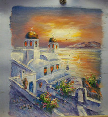 Photo of CHURCH BY SEA AT SUNSET SMALLEST SIZED OIL PAINTING