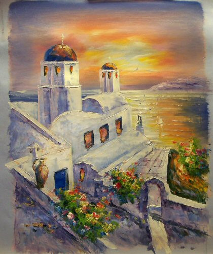 Church Santorini Greece At Sunset Small Oil Painting