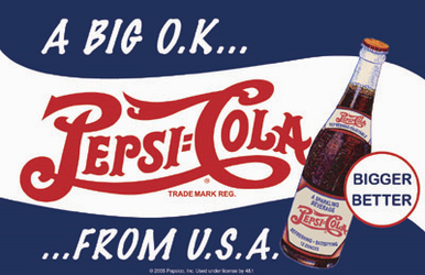 """Metal Pepsi sign measures 17"""" x 11"""" with holes in each corner for easy mounting. Great Colors!"""