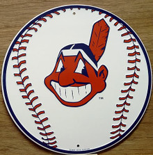 Photo of CLEVELAND INDIANS BASEBALL ROUND SIGN WITH BASEBALL GRAPHICS