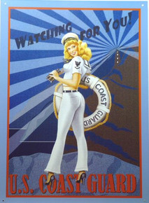 Photo of COAST GUARD POSTER GIRL SIGN, CUTE RETRO SIGN HAS WARM COLOR AND GREAT GRAPHICS