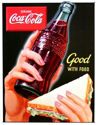 Photo of COKE AND SANDWICH SIGN HAS SOFT COLORS AND RETRO LOOK THAT TAKE IT BACK TO THE 40'S
