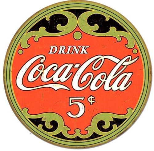 Coke Antique Round Vintage Coca Cola Tin Sign