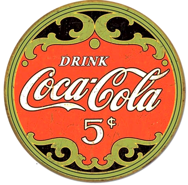 Photo of COKE ANTIQUE ROUND 5 CENTS ANTIQUE LOOKING SIGN HAS RICH COLORS AND TURN OF THE CENTURY DETAILS