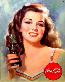 Photo of COKE BRUNETTE SIGN, THIS BEAUTIFUL YOUNG GIRLS PHOTO'S ON COKE ADDS GOES BACK TO THE FORTIES, GREAT COLOR AND DETAIL