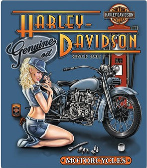 "GENUINE HARLEY DAVIDSON EMBOSSED TIN SIGN MEASURES 13"" X 15""  With holes for easy mounting.  This is a S/O  Special Order Sign, please allow 2-4 weeks for shipping."