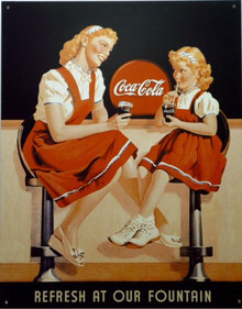 Photo of COKE FOUNTAIN THIS COCA-COLA SIGN HAS THE RED HEADED MOTHER AND DAUGHTER ENJOYING A COKE TOGETHER AT THE FOUNTAIN, CUTE SIGN, GREAT GRAPHICS AND COLOR
