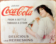 Photo of COKE GIRL W/HAT DRINKS HER COCA-COLA THRU A STRAW SIGN LOOKS LIKE AN EARLY 1900'S SIGN, THIS SIGN HAS SIMULATED RUSTY EDGES TO MAKE IT LOOK OLDER