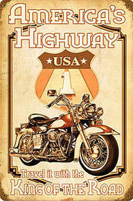 """HEAVY METAL SUBLIMATION PROCESS SIGN MEASURES 12"""" X 18"""" WITH HOLES IN EACH CORNER FOR EASY MOUNTING THIS SIGN WEIGHS APOX. 2 LBS AMERICA'S HIGHWAY MOTORCYCLES (Sublimation Process) Vintage metal Sign Corners Rusted for Weathered Look. THIS IS A SPECIAL ORDER SIGN, NORMALLY TAKES 2-3 WEEKS FOR DELIVERY. The price for shipping on this product is calculated for the 48 contiguous United States, Alaska, Hawaii and all other countries will require additional shipping cost. We do not have the option to add any charges to your credit card, so once we have an accurate shipping cost we will contact you and explain how to cover the additional shipping cost, If at that point you feel it is too much, we can send a refund to your credit card for the full amount of your purchase. Thanks, Clark, Old Time Signs."""