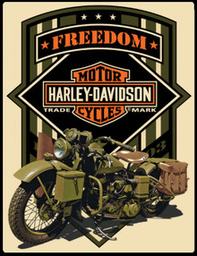 "HARLEY MILITARY MOTORCYCLE MEASURES 14"" X 17""  WITH HOLES IN EACH CORNER FOR EASY MOUNTING"
