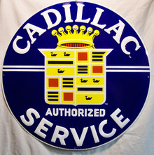 """CADILLAC SERVICE METAL SIGN, MEASURES 23 1/2"""" DIAMETER WITH FOUR HOLES FOR EASY MOUNTING.  THIS SIGN HAS SHARP EDGES AND SHOULD NOT BE CONSIDERED A TOY FOR CHILDREN."""