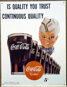Photo of COKE SPIRITE BOY #2 WHITE SIGN HAS EXCELLENT GRAPHICS AND COLOR, THIS SIGN HAS BEEN DISCONTINUED AND WE ONLY HAVE TWO LEFT