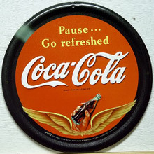 Photo of COKE WINGS ROUND COCA-COLA SIGN WAS FROM AROUND THE LATE 40'S - EARLY 50'S WITH GREAT DETAIL AND COLOR, IT IS NO LONGER IN PRODUCTION