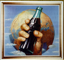 Photo of COKE WORLD WITH A HAND HOLDING A BOTTLE OF COCA-COLA WITH THE WORLD IN THE BACKGROUND HAS SHARP RICH COLORS AND IS NO LONGER IN PRINT, WE HAVE THREE LEFT IN STOCK