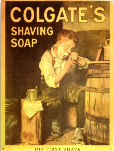 """COLGATE """"HIS FIRST SHAVE"""" ENAMEL SIGN HAS RICH WARM COLOR AND DETAILS"""
