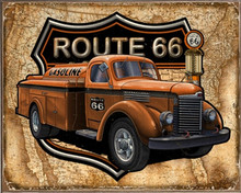 GAS TRUCK MAP ROUTE 66 BIRCH WOOD PRINT S/O*