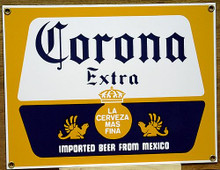 Photo of CORONA EXTRA IMPORTED BEER FROM MEXICO, PORCELAIN SIGN HAS SHARP CRISP COLORS AND DETAILS