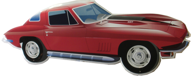 """Photo of CORVETTE  """"die cut"""" GREAT COLOR AND DETAILS IN THIS CORVETTE SHAPED SIGN"""