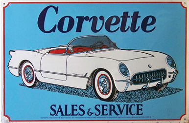 Photo of CORVETTE SALES and SERVICE SIGN, OLD TIME COLORS AND GRAPHICS