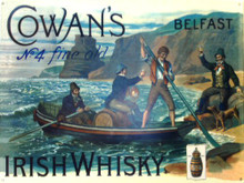 Photo of COWANS IRISH WHISKEY BOAT, BRINGING IT ASHORE IN THE DARK OF NIGHT, GREAT DETAILS AND DEEP RICH COLORS