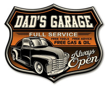 "DAD'S GARAGE SIGN MEASURES 12"" X 15"" X 5/8 IT IS A SHIELD SHAPED BIRCH WOOD PRINT."