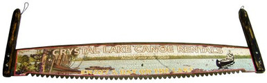 "Photo of CRYSTAL LAKE CANOE RENTAL ""SAW"" 3-D SIGN  OLD TIME COLORS AND GRAPHICS"