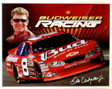 Photo of DALE JR. BUDWEISER RACING NASCAR SIGN, THE # 8 IS NOW HISTORY FOR JR.   WITH GREAT COLOR AND SUPER GRAPHICS THIS SIGN IS OUT OF PRINT AND WE HAVE BUT FOUR LEFT