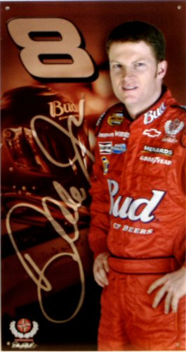 Photo of DALE JR. AUTOGRAPHED NASCAR SIGN, WITH RICH COLOR AND CRISP GRAPHICS.  THE # 8 SIGN IS NOW A COLLECTORS PRIZE..THIS SIGN IS OUT OF PRINT AND WE ONLY HAVE TWO LEFT
