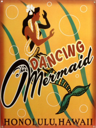 DANCING MERMAID, HONOLULU HAWAII ENAMEL SIGN WITH RICH INVITING COLORS AND CRISP GRAPHICS