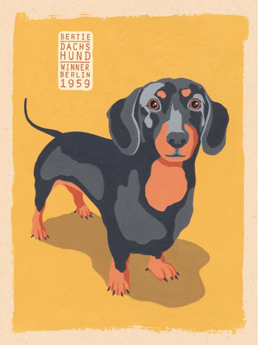 Photo of DASCHUND ENAMEL SIGN, GREAT COLORS AND GRAPHICS