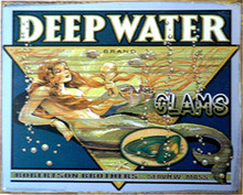 DEEPWATER CLAMS, THIS SIGN IS PRE-RUSTED TO GIVE A MORE ANTIQUE LOOK, THE MERMAID LOOKS LIKE SHE IS ENJOYING CLAMS.. MUTED, UNDERSEA COLORS AND GRAPHICS ADD TO THIS SIGNS OLD TIME LOOK