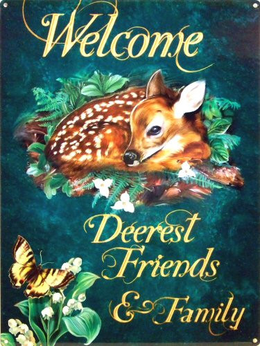 Photo of DEEREST FRIENDS ENAMEL SIGN HAS A FAWN  LAYING IN THE FLOWERS, THIS BEAUTIFUL WELCOME SIGN HAS DEEP RICH COLORS AND AWSOME GRAPHICS