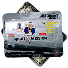 NIGHT MISSION B-17 NOSE ART 500 PC PUZZLE & TIN GIFT SET IN METAL BOX WITH DECORATED LID S/O