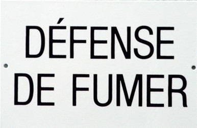 Photo of DEFENSE DE FUMER PORCELAIN SIGN IS FRENCH FOR GAS MASK..