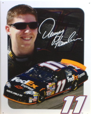 DENNY HAMLIN SIGN NASCAR SIGN, THIS # 11 SIGN IS A COLLECTORS ITEM, IT HAS RICH COLORS AND GREAT DETAIL..BUT IS OUT OF PRINT AND WE HAVE BUT FOUR LEFT