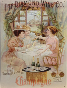 Photo of DIAMOND WINE CHAMPAGNE SHOWS THE LADIES HAVING A SPOT OF BUBBLY, RICH COLORS AND EARLY 1900 GRAPHICS ADD TO THE CHARM OF THIS SIGN
