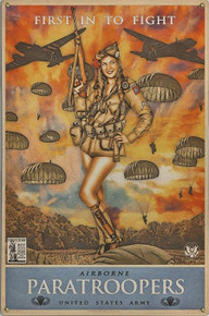 82ND AIRBORNE PARATROOPERS VINTAGE METAL SIGN