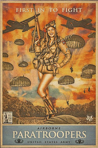 82ND AIRBORNE PARATROOPERS VINTAGE BIRCH WOOD PRINT S/O*