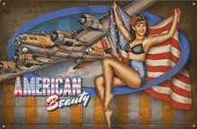AMERICAN BEAUTY VINTAGE B-17 NOSE ART  AIR FORCE  METAL SIGN S/O