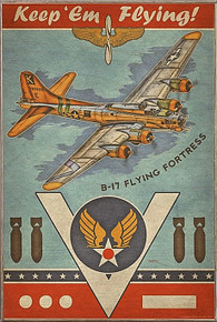 B-17 FLYING FORTRESS VINTAGE BIRCH WOOD PRINT S/O*