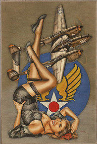 "BEAUTIFUL LIGHTNING ""P-38"" AIR FORCE  VINTAGE BIRCH WOOD PRINT S/O"