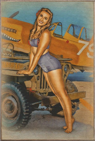CAN I HITCH A RIDE JEEP  NOSE ART VINTAGE  AIR FORCE  BIRCH WOOD PRINT S/O*