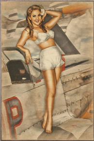 CAN I JOIN YOU VINTAGE  NOSE ART  AIR FORCE  BIRCH WOOD PRINT S/O*