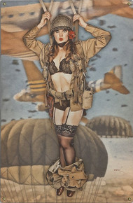 "CAUGHT WITH HER PANTS DOWN VINTAGE ""PARATROOPER"" METAL SIGN S/O*"