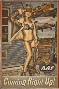 COMING RIGHT UP VINTAGE  NOSE ART  AIR FORCE BIRCH WOOD PRINT S/O*
