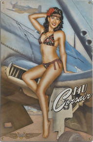 CORSAIR CUTIE VINTAGE  NOSE ART  AIR FORCE METAL SIGN S/O*