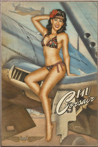 CORSAIR CUTIE VINTAGE  NOSE ART AIR FORCE  BIRCH WOOD PRINT S/O*