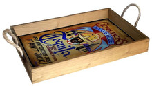 "Our Solid Wood Trays are finished with a natural stain and come with jute rope handles. These gorgeous trays are decorated with a full color birch wood insert and are a beautiful and functional addition to your living room, dining room kitchen or bar. Featuring art from our world-renowned licensees, these trays are a must-have! They measure 12"" x 18"" x 2 1/2"" deep."